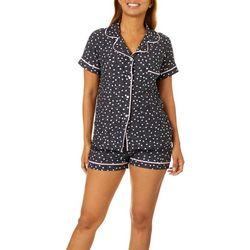Jaclyn Intimates Womens Polka Dot Print Pajama Shorts Set