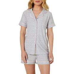 Jaclyn Intimates Womens Chevron Collar Pajama Shorts Set