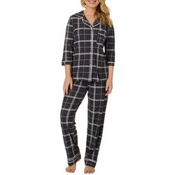 Jaclyn Intimates Womens Striped Collar Pajama Pants Set