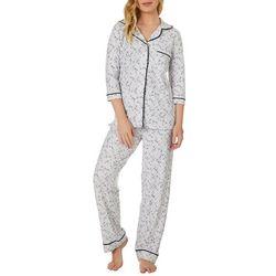 Jaclyn Intimates Womens Chevron Collar Pajama Pants Set