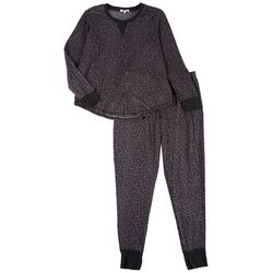 Jaclyn Intimates Womens Leopard Print Pajama Jogger Set