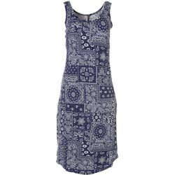 Jaclyn Intimates Womens Lush Luxe Bandana Print Sleep Dress