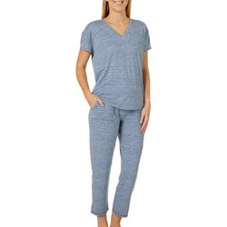 Be Yourself Womens Malvin Geometric 2 Piece Pajama Set