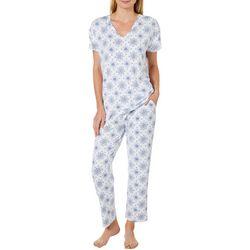 Jaclyn Intimates Womens Medallion Print Pajama Capris Set