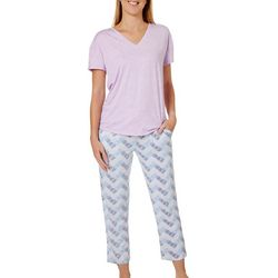 Jaclyn Intimates Womens Chevron Print Pajama Pants Set