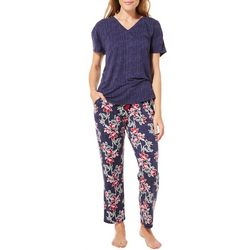 Jaclyn Inimates Womens Floral Two Piece Pajama Set