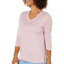 Jaclyn Intimates Womens Whisper Knit V-Neck Pajama Top