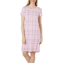 Jaclyn Intimates Womens Lush Luxe Plaid Sleep Dress