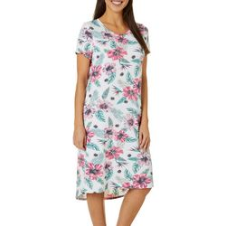 Jaclyn Intimates Womens Lush Luxe Tropical Sleep Dress