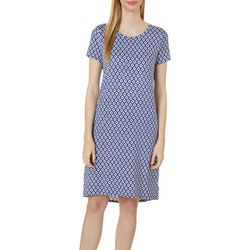 Jaclyn Intimates Womens Lush Luxe Diamond Print Sleep Dress