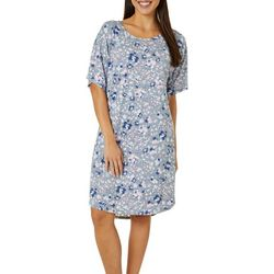 Jaclyn Intimates Womens Lush Luxe Floral Print Sleep Dress