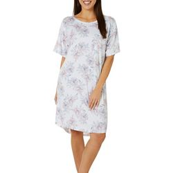 Jaclyn Intimates Womens Lush Luxe Floral Pocket Sleep Dress
