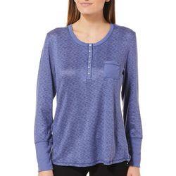 Jaclyn Intimates Womens Long Sleeve Henley Pajama Top