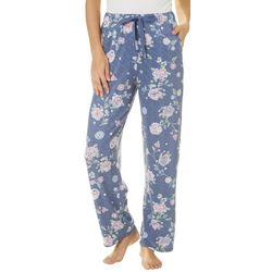 Jaclyn Intimates Womens Blue Floral Print Pajama Pants
