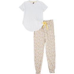 Womens Floral Print Pajama Jogger Set