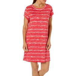 Jaclyn Intimates Womens Lush Luxe Striped Sleep Dress