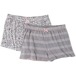 Jaclyn Intimates Womens 2-Pc. Leopard Yummy Pajama Shorts