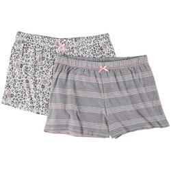 Womens 2-Pc. Leopard Yummy Pajama Shorts