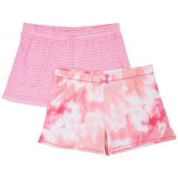 Womens 2-Pk. Tie Dye Striped Pajama Shorts