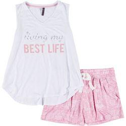 Womens Living My Best Life PJ Shorts Set