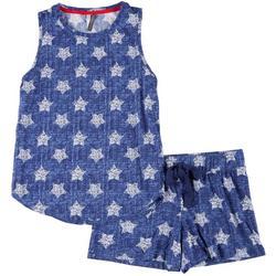Womens Stars Pajama Shorts Set