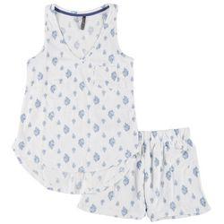 Womens Flower Pajama Shorts Set