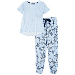 Jaclyn Intimates Womens Butterfly Print Pajama Jogger Set