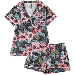 Jaclyn Intimates Womens 2-pc  Tropical Notched Shorts  Set