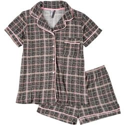 Jaclyn Intimates Womens 2-pc  Plaid Notched Shorts  Set