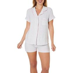Womens 2-pc Thatched Pajama Shorts Set