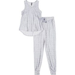 Jaclyn Intimates Womens Triangle Print Pajama Jogger Set