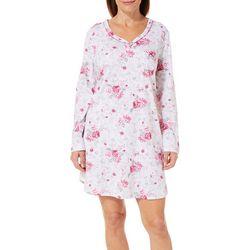 Karen Neuburger Womens Floral Long Sleeve Nightgown