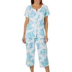 Karen Neuburger Womens Floral Cardigan Pajama Pants Set