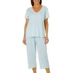 Karen Neuburger Womens Floral Print Cropped Pajama Pants Set