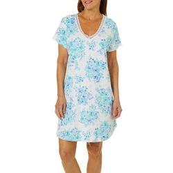 Karen Neuburger Womens Floral Print Lace V-Neck Nightgown