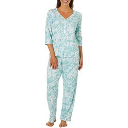 Karen Neuburger Womens Floral Sage Pajama Pants Set