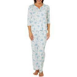 Karen Neuburger Womens Ditsy Floral Henley Pajama Pants Set