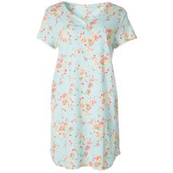 Womens Floral Short Sleeve Nightgown