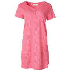 Womens Dotted Short Sleeve Nightgown