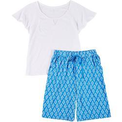 Womens 2-Pc. Keyhole Pajama Bermuda Set