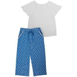 Womens Frond Print Capri Pajamas Set