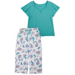Womens Dragonfly Print Capri Pajama Set