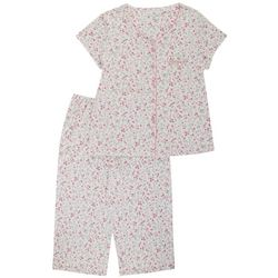 Karen Neuburger Womens 2-Pc. Ditsy Capri Pajama Set