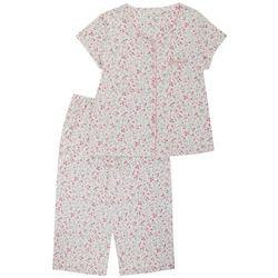 Womens 2-Pc. Ditsy Capri Pajama Set