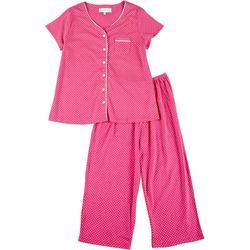 Womens 2-Pc. Dotted Capri Pajama Set