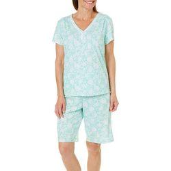 Karen Neuburger Womens Floral Scroll Bermuda Pajama Set