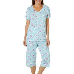 Karen Neuburger Womens Floral Print Capri Pajama Set