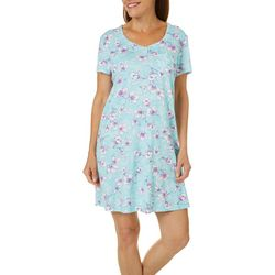 Karen Neuburger Womens Floral Print Short Sleeve Nightgown