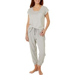 Karen Neuburger Womens Live Love Lounge Striped Pajama Set