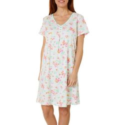 Karen Neuburger Womens Floral Geo Short Sleeve Nightgown